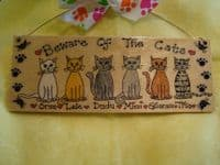 BEWARE OF THE CATS OR ANY OTHER PHRASE WOODEN PERSONALISED up to 6 CHARACTERS SIGN PLAQUE HANDMADE